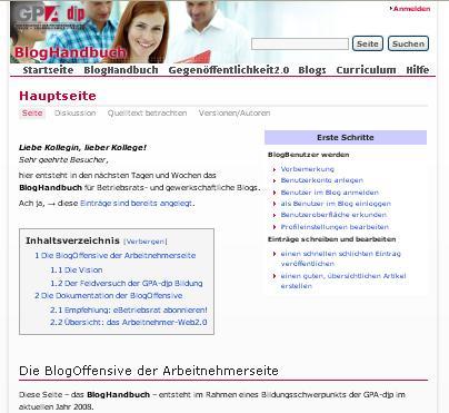 Screenshot der BlogHandbuch-Startseite