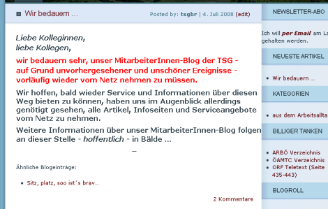 Screenshot TSG EDV BR-Blog